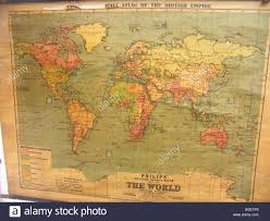World Wall Map by Old World Wall Map Showing British Empire In Red Stock
