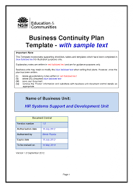 disaster recovery plan template example for small business
