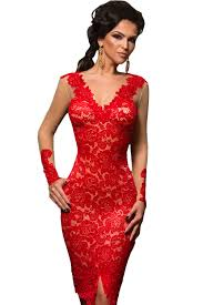 red lace applique illusion long sleeve dress