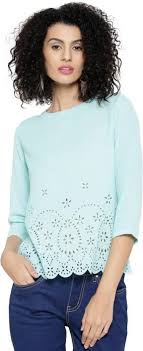 light blue top women s sassafras casual 3 4th sleeve solid women s light blue top buy