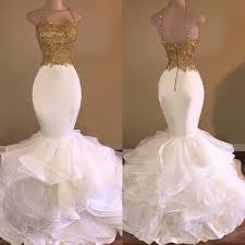 2017 aso ebi gold white ruffles lace mermaid prom dresses