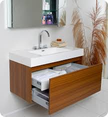 Modern Bathroom Vanity Cabinets Fresca Mezzo Teak Modern Bathroom Vanity With Medicine Cabinet