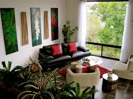 Decorating Ideas Living Room Black Leather Couch Black Leather Couch With Red Cushions Plus Oval Glass Top Having