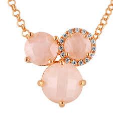 gold rose quartz necklace images Bronzallure rose quartz necklace in 18kt rose gold plate jpg