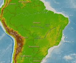 Brazil On South America Map by Brazil Physical Map