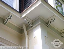 close up of corbels on victorian home restoration and addition