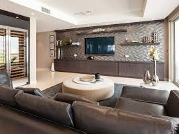 living room bench dark wood coffee table wall mounted tv contemporary family room
