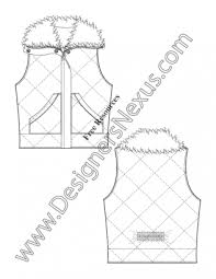 v35 diamond quilted fur collar vest flat fashion sketch template