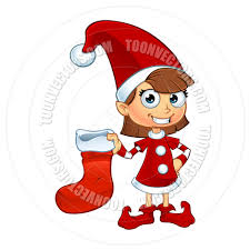 cartoon christmas elf character in red holding stocking by