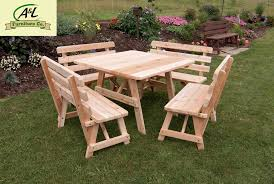 Western Red Cedar Outdoor Furniture by Buy The A U0026 L Red Cedar 43 In Square Table W Backed Benches