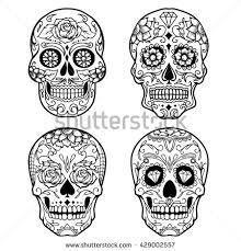 day dead sugar skull outline tattoo stock vector 429002557