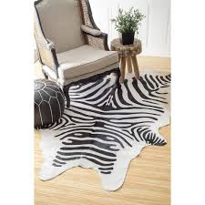 Are Cowhide Rugs Durable Nuloom Hand Picked Brazilian Black White Zebra Cowhide Rug 5 U0027 X