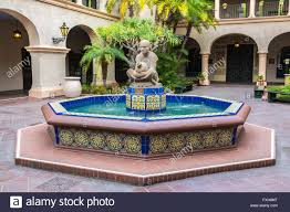 spanish style fountain in the courtyard at the prado restaurent in