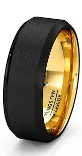 Male Wedding Rings by Mens Wedding Band Black Rose Gold Tungsten Ring Brushed Surface
