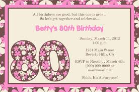 Party Invitation Cards Templates 80th Birthday Party Invitations Templates Vertabox Com