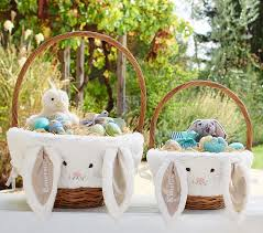 personalized easter baskets for toddlers the taupe bunny easter basket liners pottery barn kids regarding
