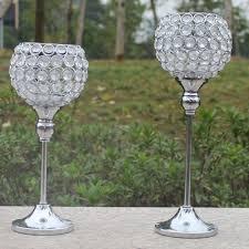 bougeoir mariage 2 pcs métal argent plaqué bougeoir avec cristaux candélabres de