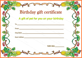 birthday gift certificate template pet gift certificate template