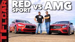 lexus is350 f sport vs infiniti q50 too close to call mercedes amg e43 vs infiniti q50 red sport drag