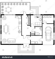 Living Room Architecture Drawing Black White Architectural Plan House Car Stock Vector 525633220