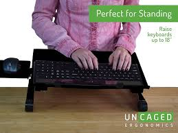 Desk Extender For Standing Amazon Com Uncaged Ergonomics Workez Keyboard Tray U0026 Mouse Pad