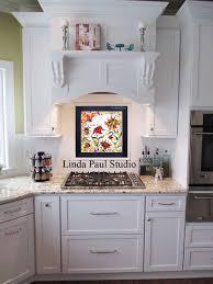 great kitchen backsplash ideas at white kitchen with sunflower