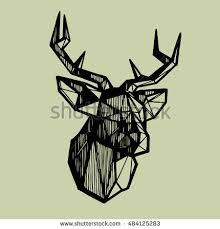 deer head sketch polygonal geometric deer stock vector 484125298