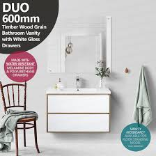 duo 600mm white oak textured timber wood grain vanity with white