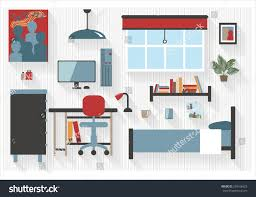 teen bedroom furniture computer desk bed stock vector 293168423