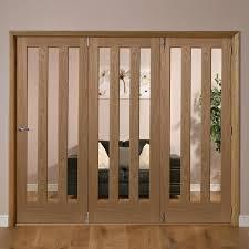 Bq Patio Doors by Saxton Vertical 3 Lite Oak Veneer Glazed Internal Folding Door Rh