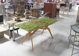 Mid Century Modern Dining Room Furniture by Italian Mid Century Modern Dining Table With Art Glass Top At 1stdibs
