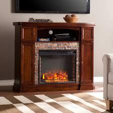 davenport espresso faux stone electric media fireplace electric