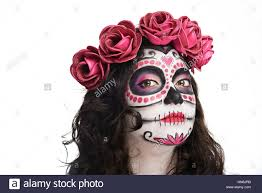 Pretty Makeup For Halloween by Pretty Make Up For Woman On Halloween Isolated White Stock Photo