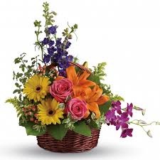 basket of flowers bright basket of flowers mixed assorted flower basket of