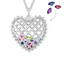 birthstone necklace caged heart birthstone necklace designs by m