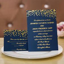 wedding invitations navy navy blue with gold polka dots and script wedding invitation