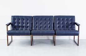 mid century navy leather sofa from chromcraft for sale at pamono