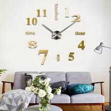 buy 3d diy large wall clock gold at marketplacefinds for only 23 99