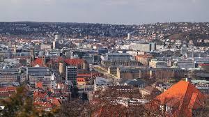 stuttgart castle ultra hd 4k video time lapse stock footage aerial cityscape