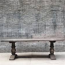 teak trestle dining table salvaged wood columns provence extending trestle dining table