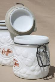 milk glass canister set wheaton country orchard kitchen canister jars