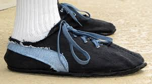 retro style running shoes from old tires make