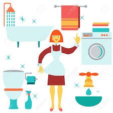 House Flat Design by Women Doing House Work In Bathroom Vector Illustration Flat