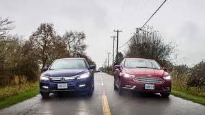 Ford Fusion Vs Honda Accord Reliability 2017 Ford Fusion Hybrid Vs 2017 Honda Accord Hybrid Comparison Test