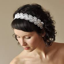 crochet hair band bridal hair band wedding hair accessory crochet lace lacy oryginal