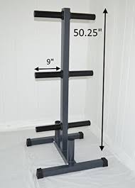 olympic weight plate tree w 2 bar holder holds bumper plates