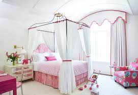White With Pink Polka Dot Curtains Canopy Bed Design Great Design Full Size Bed Canopy Full Size
