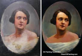 oil on panel portrait before after retouching repair