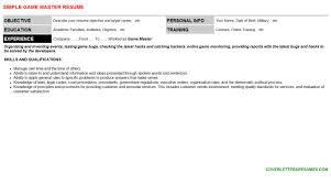 Master Resume Template Game Master Cover Letter U0026 Resume