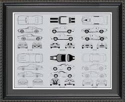 wall blueprints chevrolet camaro automobile blueprint art wall hanging auto car gift